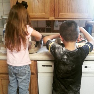 Teaching the munchkins to make fried chicken. Beauty in the mundane.